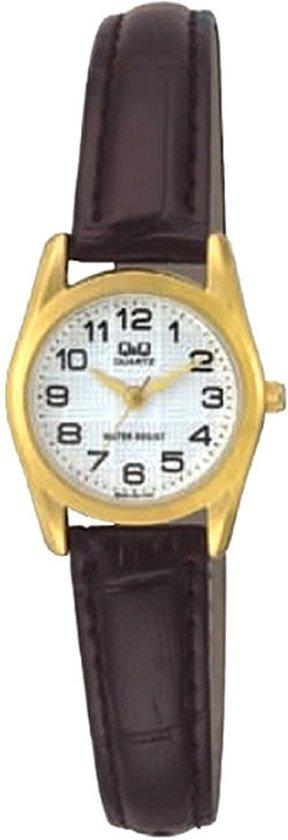 Q&Q mooi dames horloge Q639-104y  goudkleurig/bruin met duidelijke wijzerplaat-