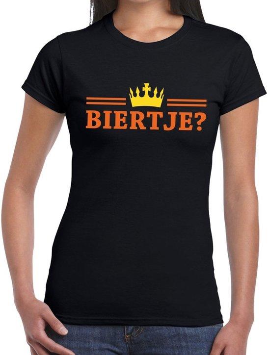 Zwart Biertje en kroon shirt dames S