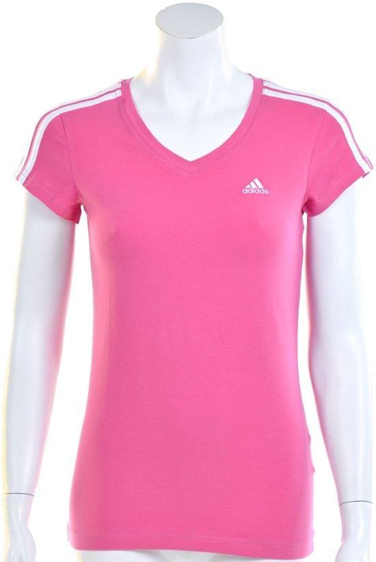 45dd42d1470 adidas Essentials 3 Stripes Young Tee - Sportshirt - Dames - Maat 40 -  Intens Roze