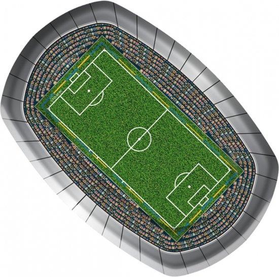 Voetbal borden rechthoekig 8 stuks - wegwerpbordjes