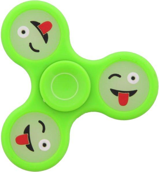 Afbeelding van het spel Groene Fidget spinner met Emoji.