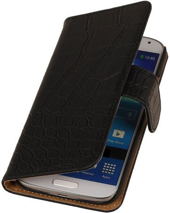 Alternate Book Case Flip Wallet Cover Cover Voor Samsung Galaxy Core Lte Croco Zwart in Tusveld