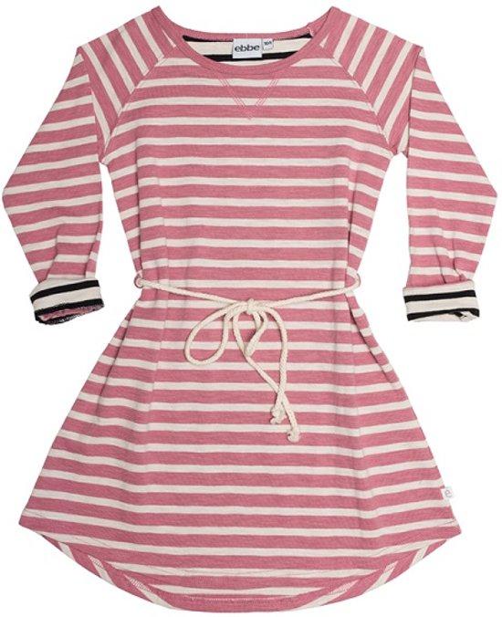 Ebbe - jurk - lange mouwen - model Alina - dusty pink stripe - Maat 98