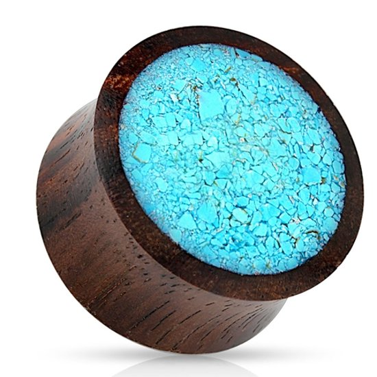 8 mm double-flared plug Crushed aqau met organic wood ©LMPiercings
