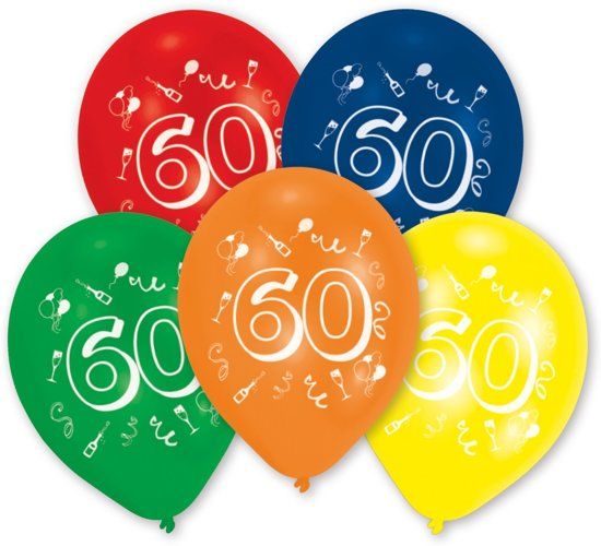 Amscan ballonnen 60 jaar 10 stuks 25 cm amscan for Decoratie 60 jaar