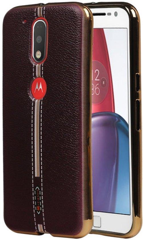 M-Cases Bruin Leder Design TPU hoesje voor Motorola Moto G4 / G4 Plus