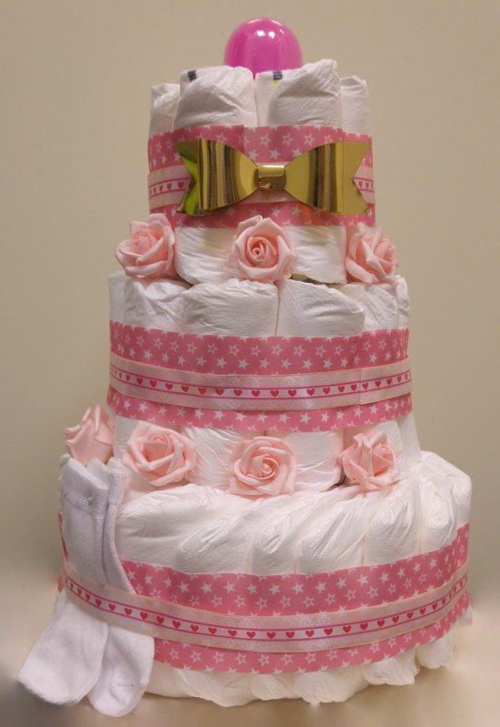 Pampertaart luiertaart voor meisjes 3 lagen maat 1 (2-5kg)