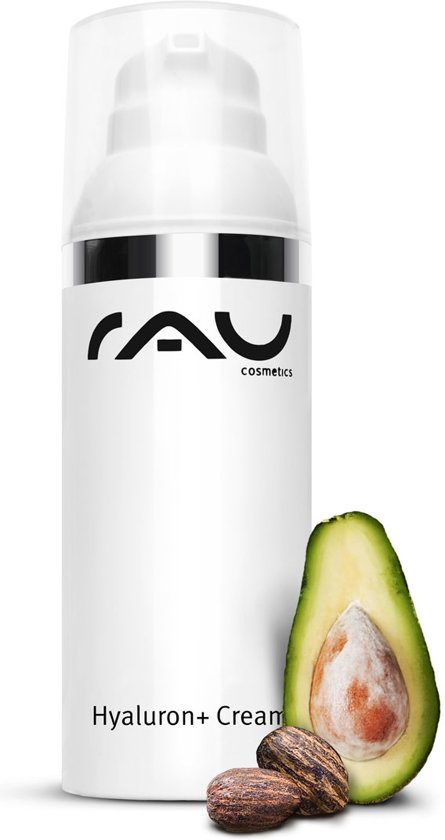 RAU Hyaluron + Cream met UV-Filter 50 ml, SPF 6 - 24 uurs crème - met avocado-olie en hyaluronzuur - in airlesspompje