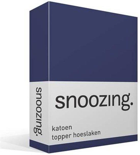 Snoozing - Katoen - Topper - Hoeslaken - Tweepersoons - 150x200 cm - Navy