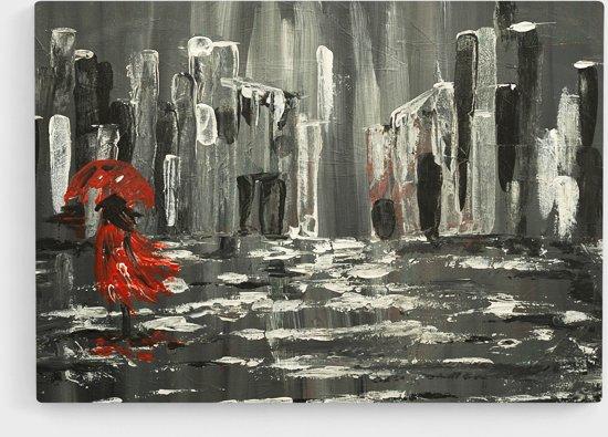'WALKING IN THE RAIN' Canvas Print van JM ART (90 x 60 cm)