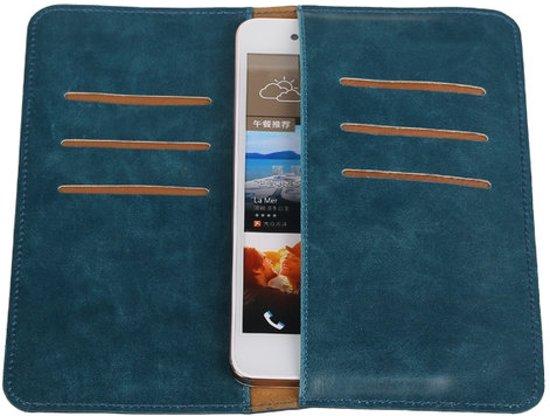 Blauw Pull-up Large Pu portemonnee wallet voor HTC Desire 828