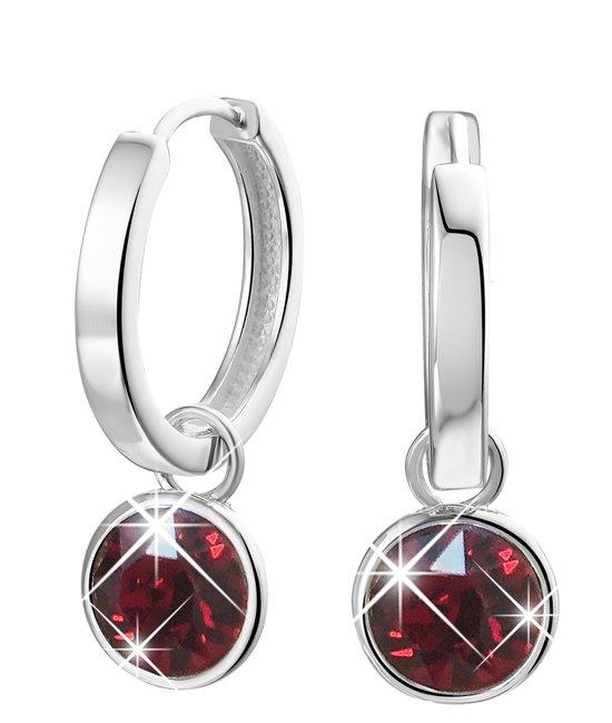 Lucardi - Zilveren oorbellen Swarovski Crystal ruby