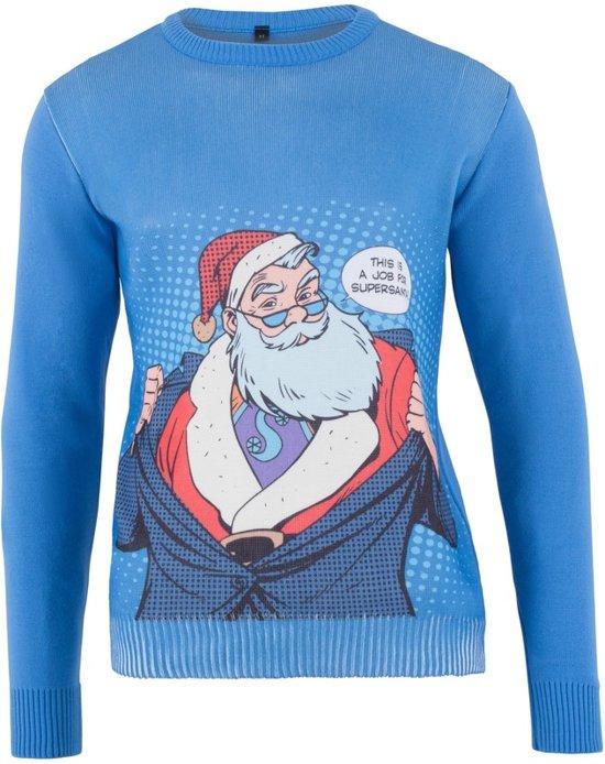 Kersttrui Heren Blauw.Bol Com Kersttrui Blauw Popart Heren Super Santa Xxl 56