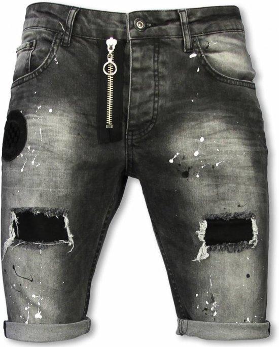 Korte Jeans Broek Heren.Bol Com Enos Korte Broek Heren Slim Fit Denim Short Fake Zipper