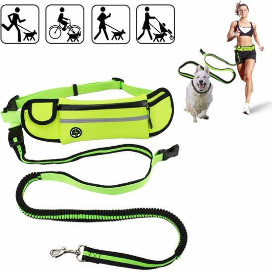 Hondenriem- Hardloopriem handsfree- Heupriem - Looplijn -Schokabsorberend-Vering koord-Handsfree joggen