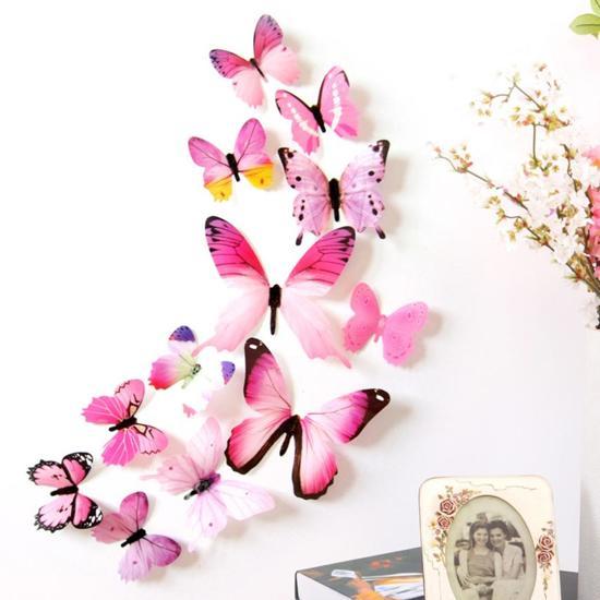 Roze Muurdecoratie Kinderkamer.Bol Com 3d Stickers Vlinders Muurstickers Voor Meisjes