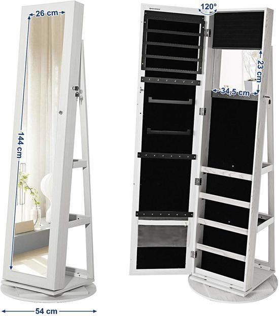 360° Draaibare Sieradenkast met Lange Spiegel – Staande Spiegelkast voor Sieraden - 161 cm hoog, 54 cm breed – Wit Hout