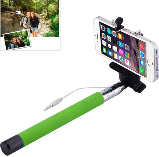 selfie stick groen met ingebouwde knop voor iphone 3 4 4s 5 5s 5c 6 6plus. Black Bedroom Furniture Sets. Home Design Ideas