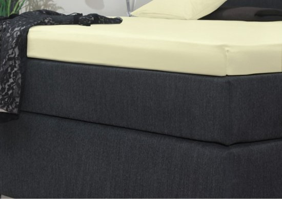 Senzatione Katoensatijn Split Topdek / Topper Hoeslaken 160x200+15 cm Creme 07