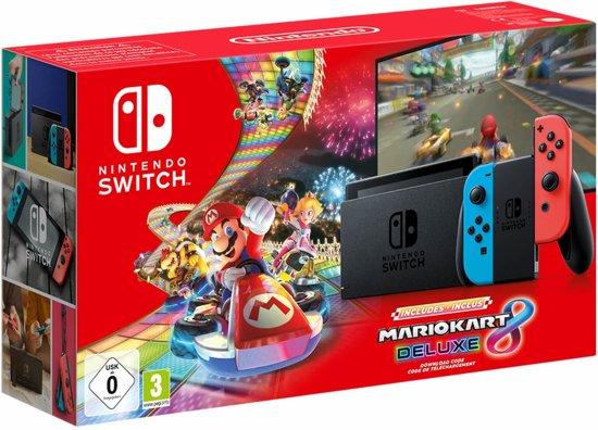 Nintendo Switch Console - 32GB - Blauw/Rood - Nieuw Model + Mario Kart