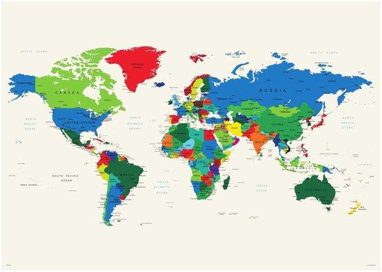 bol | poster wereldkaart wit modern luxe 70x100 cm., posterpoint