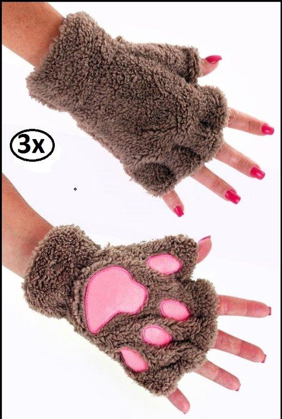 3x Vingerloze handschoenen pluche dierenpootje licht bruin