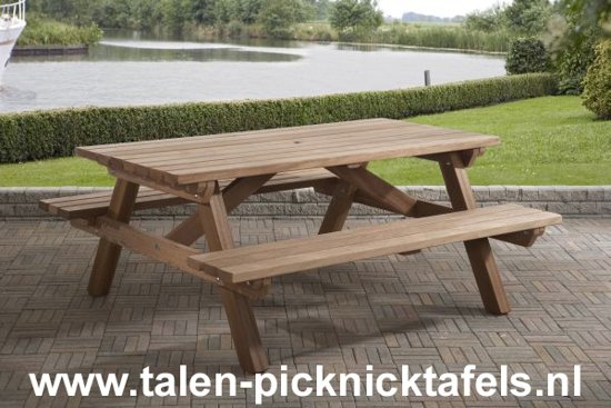 Van Talen - Picknicktafel 6 personen - Hardhout - 160 x 180 cm