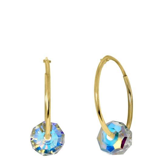 Lucardi - 14 Karaat geelgouden oorbellen met kristal