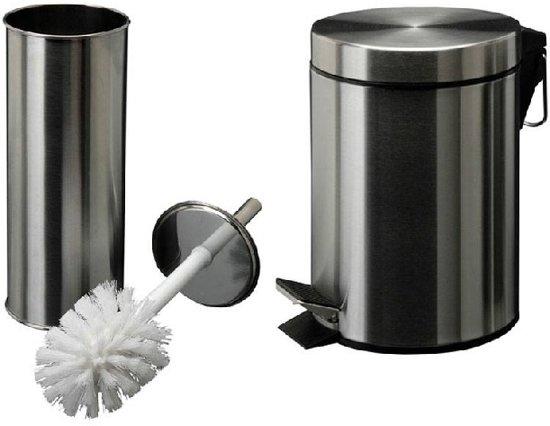 Rvs Pedaalemmer Badkamer : Bol badkamer toiletset afvalemmertje toiletborstel van