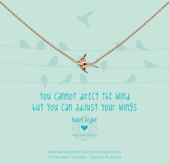 Heart to Get Necklace, rosegold plated, bird, you cannot direct the wind but you can adjust your wings