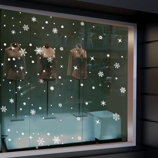 Raamstickers - sneeuwvlokken set herbruikbaar - raamdecoratie kerst Valentinaa