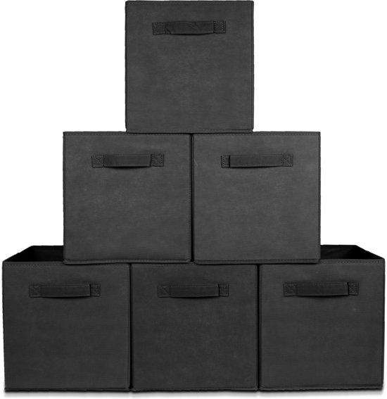LifeGoods Kast Organizers - Set: 6 Stuks - Multifunctioneel Opberg Box/Doos/Mand/Vakken - Opbergsysteem Kleding/BH/Sokken/Ondergoed/Speelgoed/Badkamer/Keuken - 20 L - Zwart