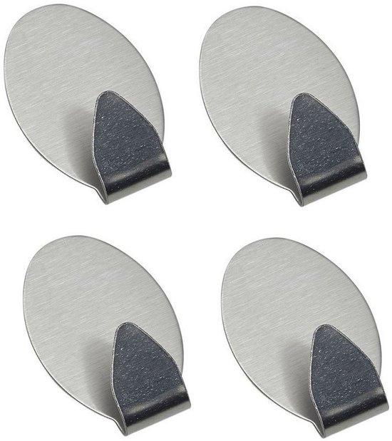 Zelfklevende RVS Wandhaakjes  – Ophanghaakjes - Handdoek Haakjes - Kleine Wandhaak - Plak Haakjes Muur (6 Stuks) Ovaal