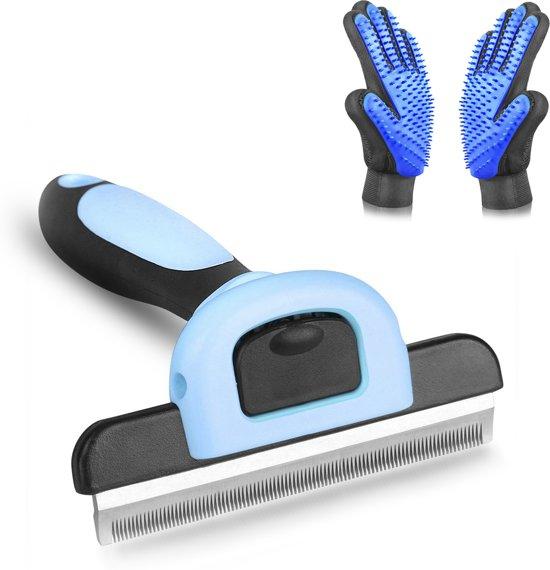 Hoogwaardige Ontharingsborstel – Inclusief 2 Vacht Verzorgingshandschoenen - Furminator - Vermindert Haaruitval Met 95% - Hondenhaar Verwijderaar - Kattenhaar Verwijderaar - Haren Verwijderen - Haarvanger – Blauw