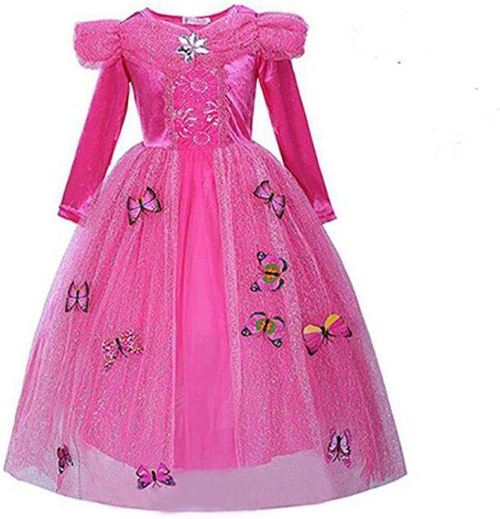 Prinsessen jurk roze maat 116/122 + gratis staf en kroon - vlinders (labelmaat 130)
