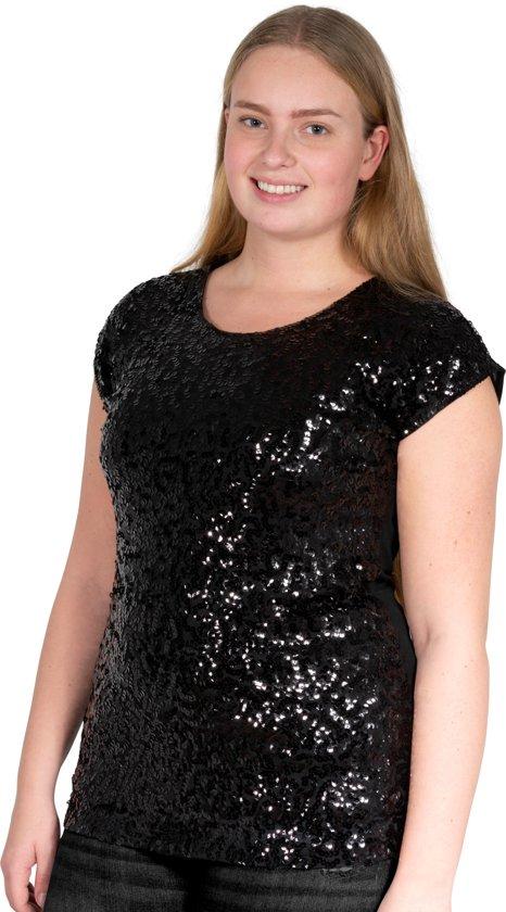 Pailletten topje, shirt L/XL zwart