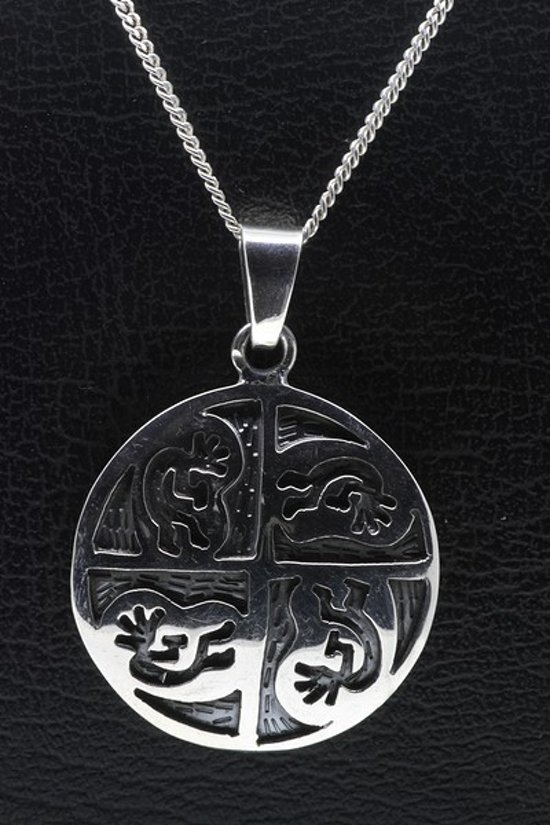 Zilveren Indiaan Kokopelli rond kwartet hopi style ketting hanger