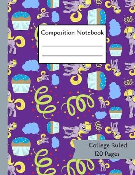 Composition Notebook: Unicorns & Cupcakes Pattern - 120 Page College Ruled Paperback Notebook - 8.5''x11''(21.6 x 27.9 cm)