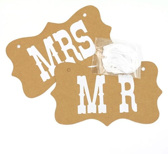 Photobooth Prop - Mr & Mrs bruiloft sign - kraft bruin Valentinaa