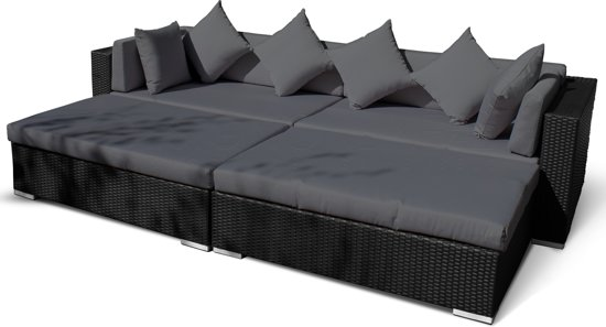Lounche Set Kussens : Wicker loungeset long beach licht bruin verandavillage