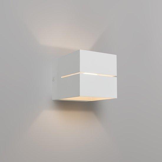 QAZQA Transfer 2 - Wandlamp - 1 Lichts - 9,7 cm - wit