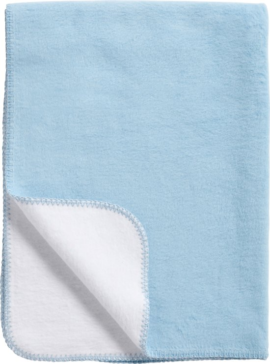 Meyco Double Face - Wiegdeken 75x100 cm - Wit/Lichtblauw