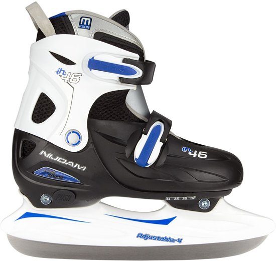 Nijdam Junior IJshockeyschaats Junior Verstelbaar - Hardboot - Zwart/Zilver/Blauw - 38-41