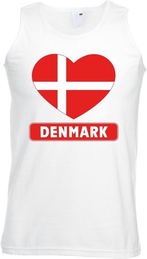 Denemarken singlet shirt/ tanktop met Deense vlag in hart wit heren L