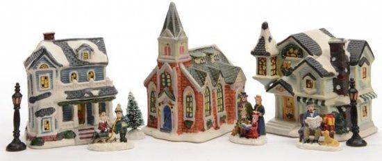 Kerstdorp 3 kersthuisjes met led verlichting