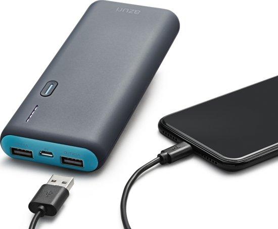 Azuri powerbank met 2 USB poorten  - 10.000 mAh - Blauw/grijs