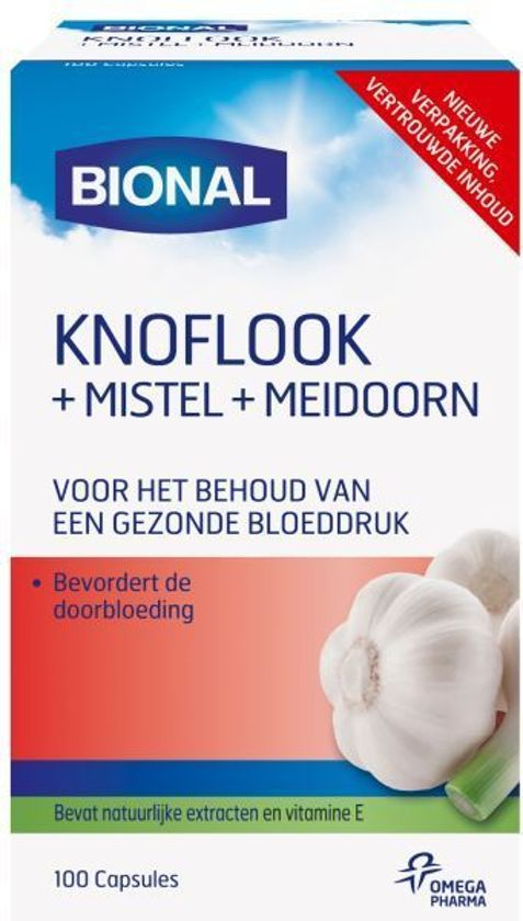 Bional Knoflook+Mistel+Meidoorn - Reguleert bloeddruk en cholesterol - 100 capsules