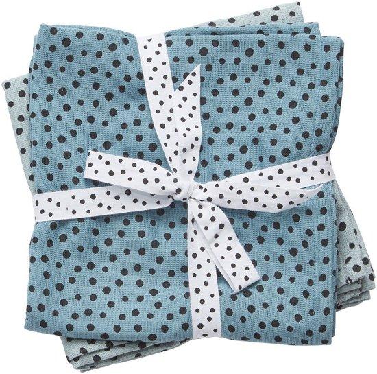 Hydrofiele Doeken XL Happy Dots Blauw (2st) Done By Deer