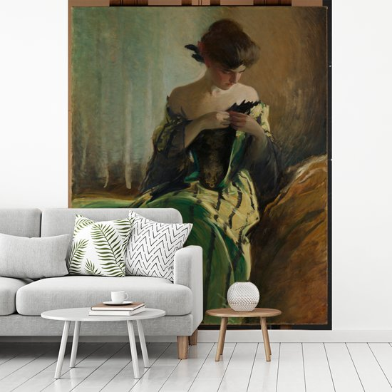 Fotobehang vinyl - Study in Black and Green - Schilderij van John White Alexander breedte 275 cm x hoogte 340 cm - Foto print op behang (in 7 formaten beschikbaar)