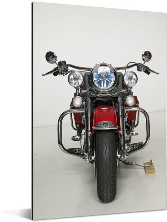 Rode motorfiets op een witte achtergrond Aluminium 20x30 cm - klein - Foto print op Aluminium (metaal wanddecoratie)